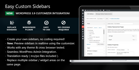 Easy Custom Sidebars WordPress Plugin