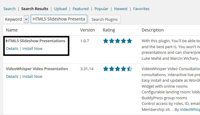 Install HTML5 Slideshow Presentations