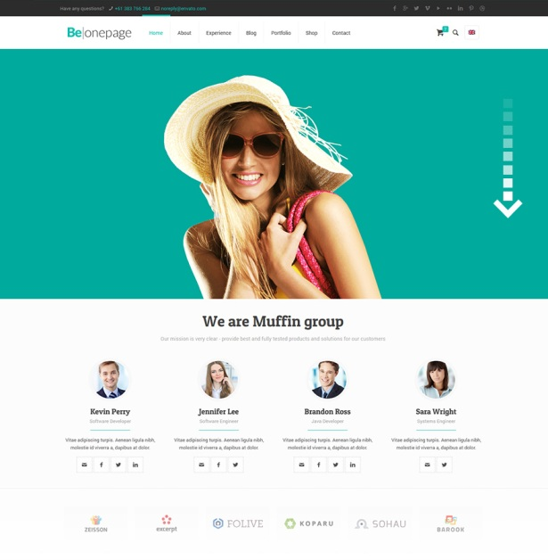 BE Theme One Page Template