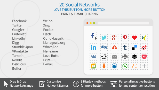 Easy Social Share Buttons networks