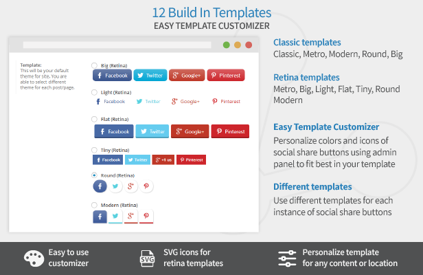 Easy Social Share Buttons templates
