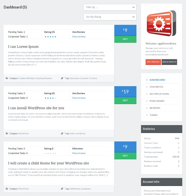 Taskerr theme user dashboard