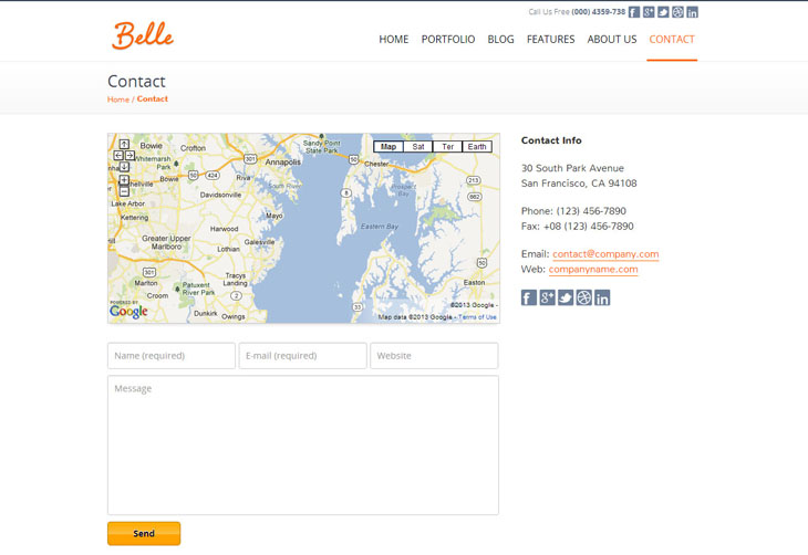 Belle Theme Contact Page