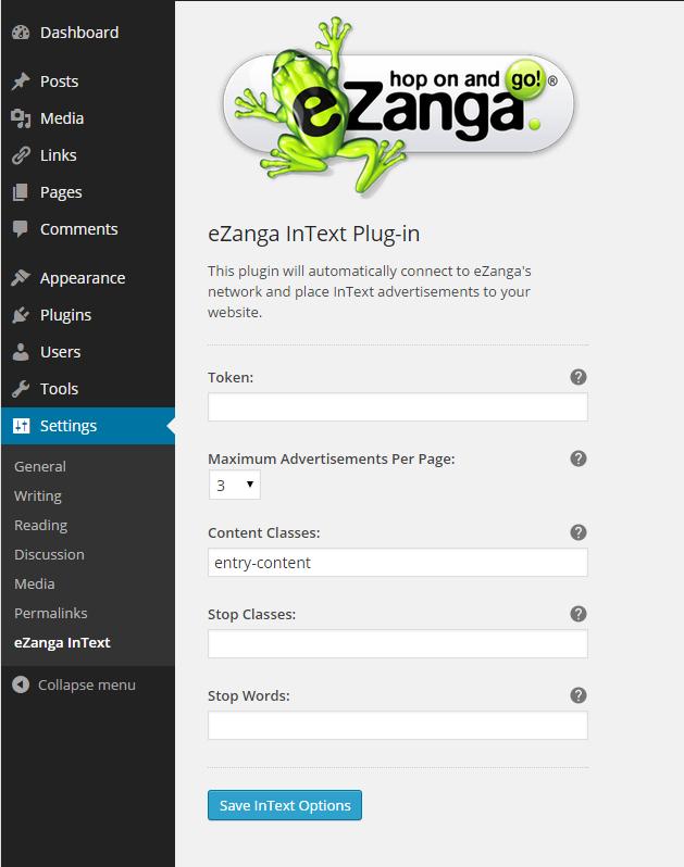 eZanga Intext Plugin